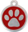 New Red Dingo Aluminum QR Code Red Pawprint Pet Tag